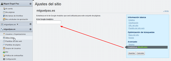 Insertar ID google analytics en liferay 6.1