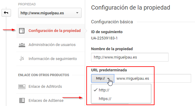 Configuración HTTPS Google Analytics